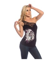 TOP NATION  SHOULDER LACE TANK